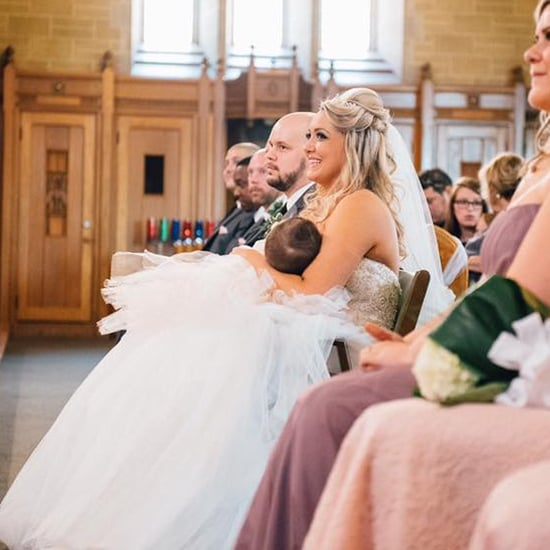 Bride Breastfeeding Baby at Wedding Ceremony