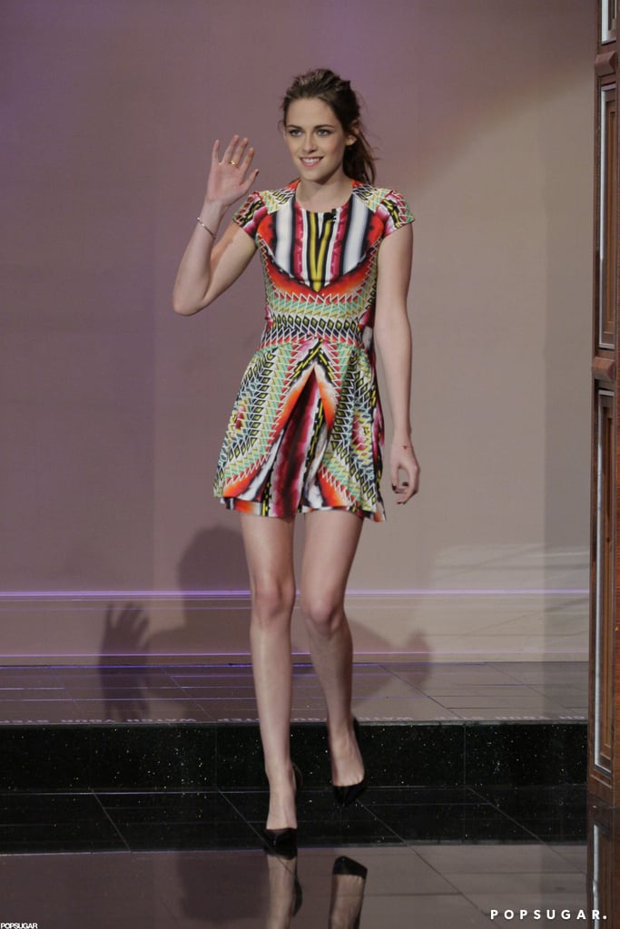 Kristen Stewart wore a colorful Peter Pilotto minidress to talk Twilight with Jay Leno in November 2012.