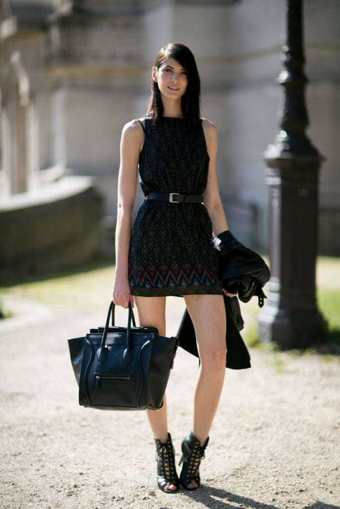 She gave her dress the supermodel accessory treatment with lace-up heels and a Céline tote.