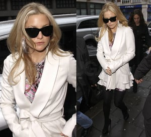 Photo of Kate Hudson in London Wearing Ruffled Ivory Coat