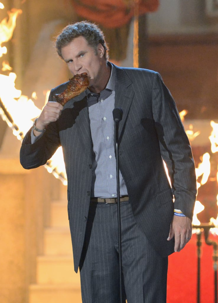 Will Ferrell ate a chicken drumstick during an appearance at the 2012 Guys Choice Awards.