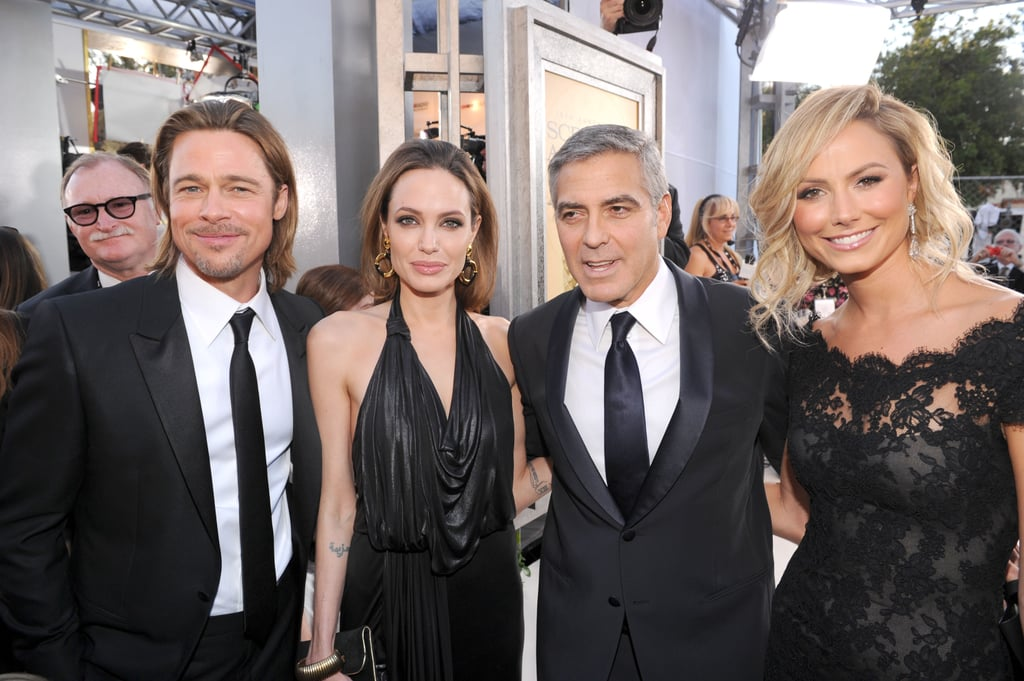Stacy Keibler rubbed elbows with Brad Pitt and Angelina Jolie when she attended the SAG Awards with George Clooney in January 2012.