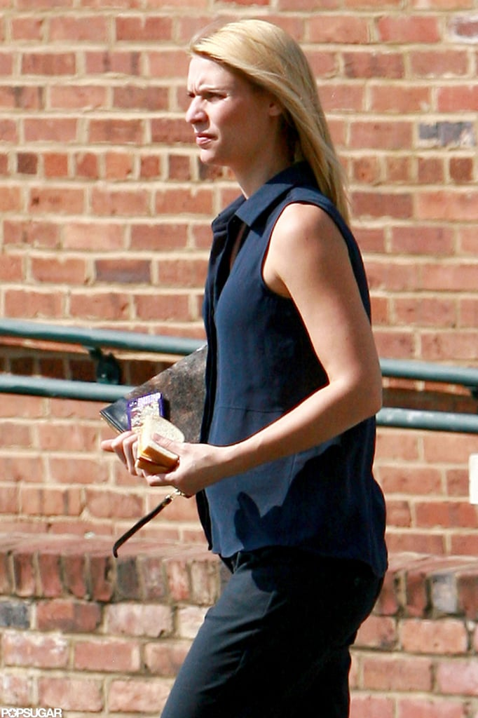 Pregnant Claire Danes is eating for two on the set of Homeland in North Carolina.