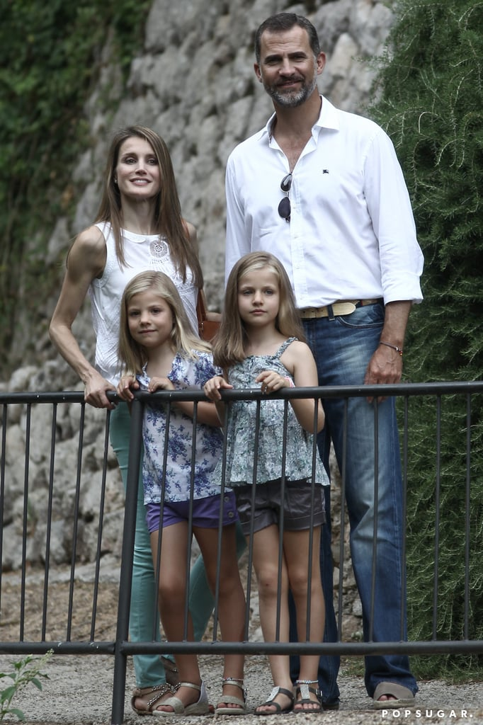 Prince Felipe and Princess Letizia of Spain took their daughters, Infanta Lenor and Infanta Sofia, on a holiday in Mallorca in August.