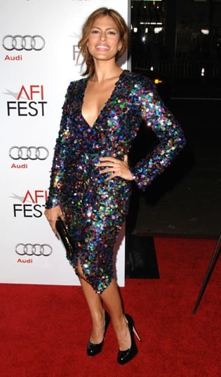 Eva Mendes Wears a Multicolored Sequin Plunging Dress by Chris Benz