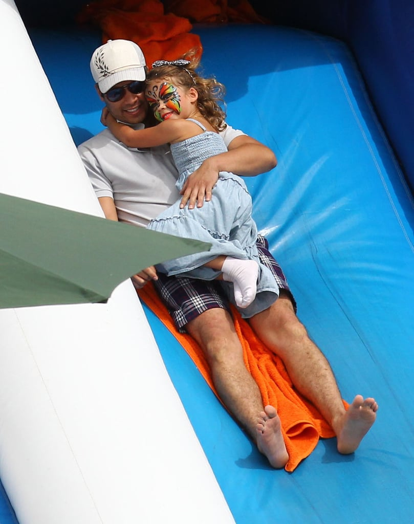 Cash Warren rode down an inflatable slide with Honor during an October 2012 trip to a pumpkin patch in Hollywood.