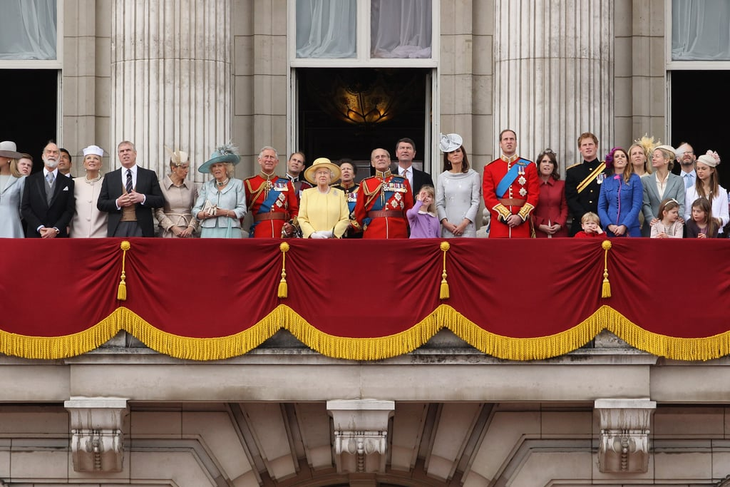 Kate Middleton, Prince William, Prince Charles, Prince Philip, and Queen Elizabeth made a balcony appearance with many others accompanying them at the Trooping the Colour ceremony in London.