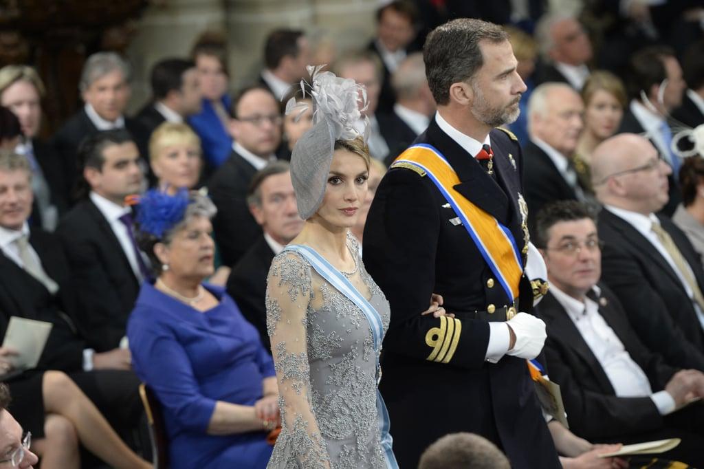Princess Letizia and Prince Felipe of Spain arrived at the inauguration.