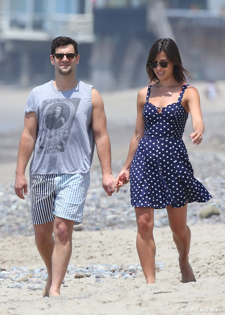 Justin Bartha and his fiancée, Lia Smith, held hands for a Fourth of July beach walk in Malibu.