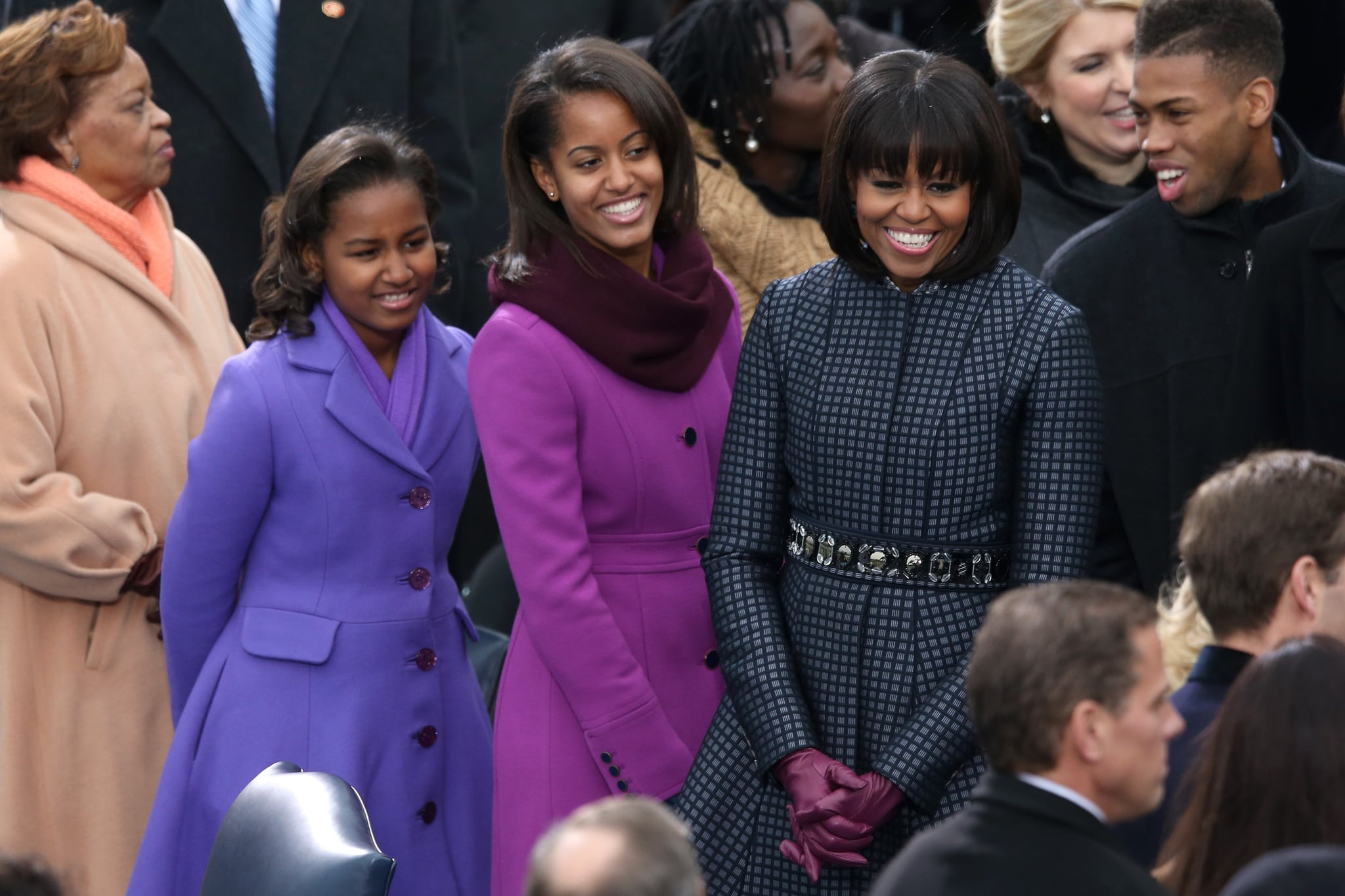 The Obama ladies wore their prettiest coats for dad's second inauguration.