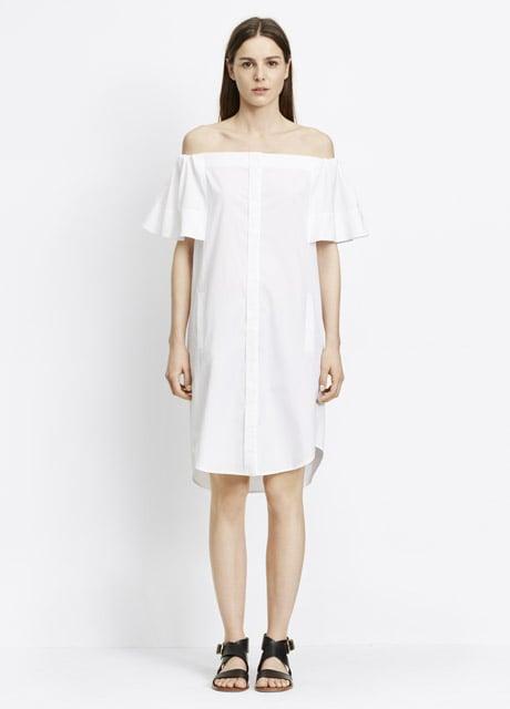 Vince Cotton Poplin Off-The-Shoulder Shirt Dress ($295)