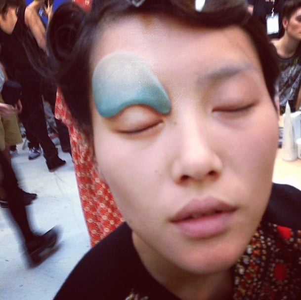 Liu Wen's makeup for Gareth Pugh was so dramatic, she had to share. Source: Instagram user liuwenlw