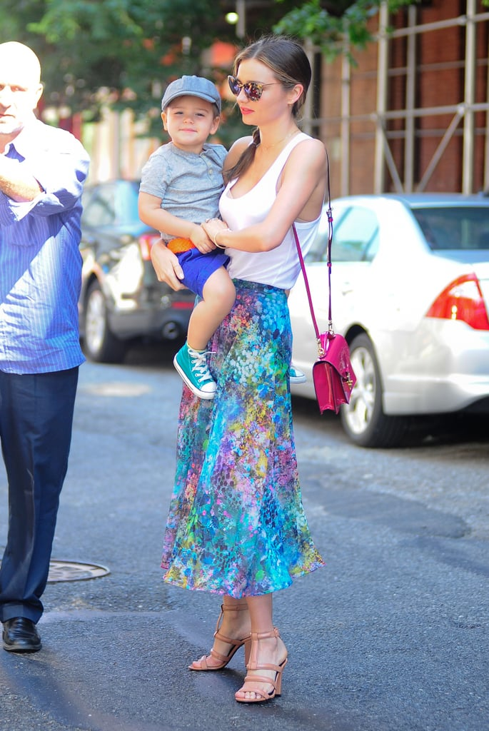 Miranda carried Flynn on her way to a studio in Manhattan on July 8.