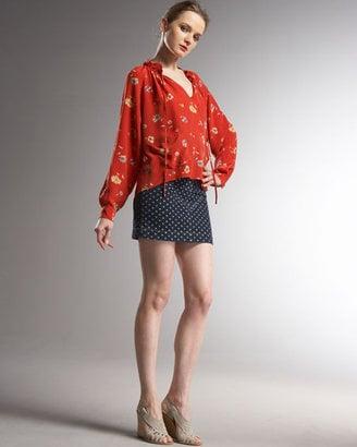 Denim Polka Dot Skirt