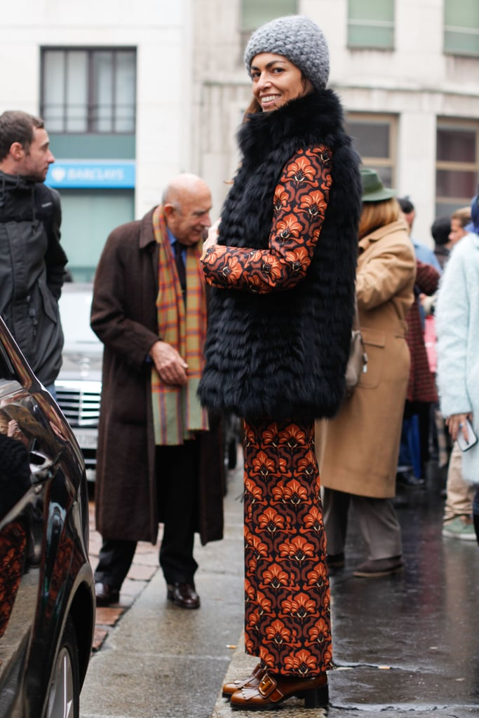 A furry vest gave print on print a luxurious, cozy counter.