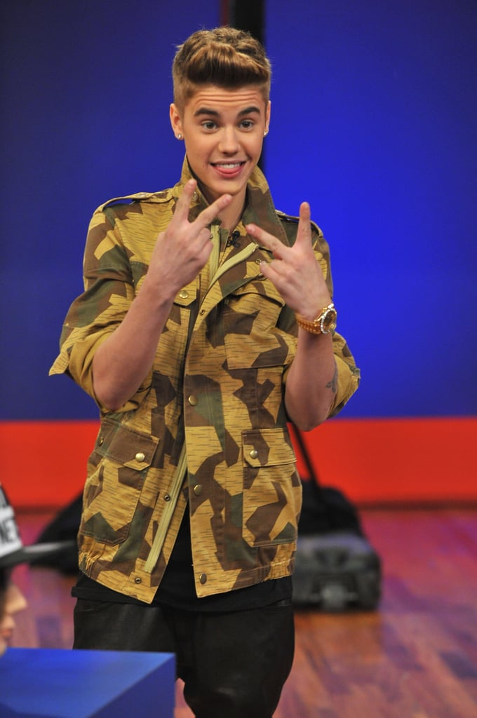 Justin Bieber threw up a peace sign during his appearance on Late Night With Jimmy Fallon.