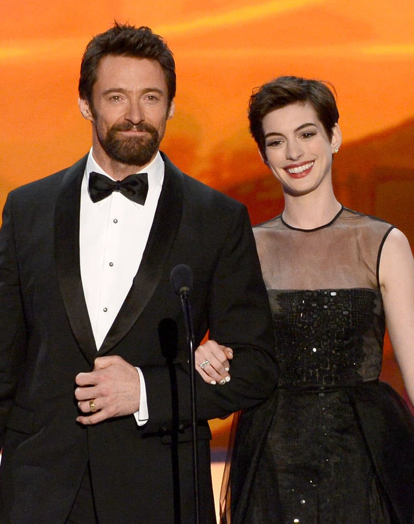 Anne Hathaway and Hugh Jackman shared a moment on stage at the Screen Actors Guild Awards.