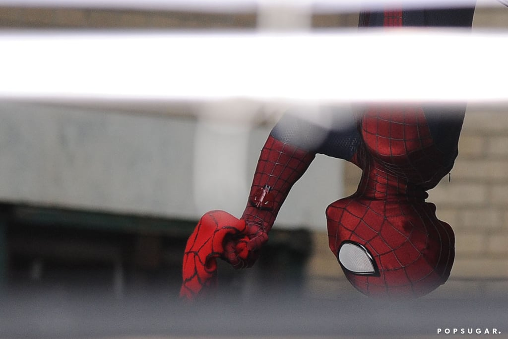 Andrew Garfield hung upside down on set.
