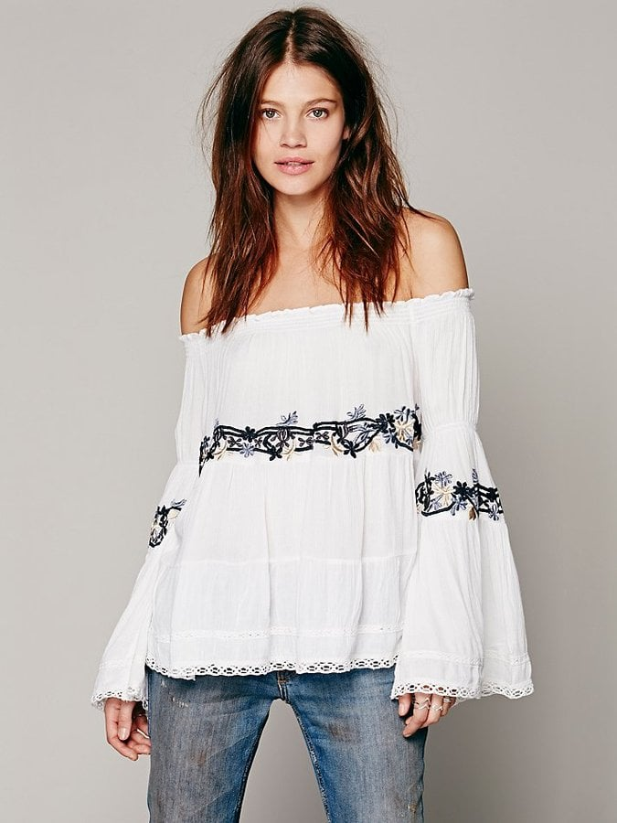 Free People Embroidered White Off-the-Shoulder Top