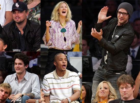 Photos of John Mayer, Justin Timberlake, Leonardo DiCaprio, Drew Barrymore at Lakers Game
