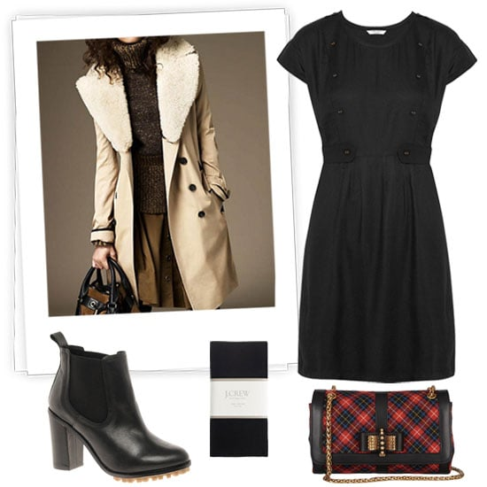 We love that this LBD is a no-fail Fall option, but to keep things interesting, its button-front details provide a more militaristic vibe. To maintain that slightly punched-up feel, accessorize with a crisp plaid print, a lug sole, and a fur collar. Get the Look:   Aubin & Wills Hallthwaite Twill Dress ($165)  Burberry Long Cotton Gabardine Shearling Collar Trench Coat ($1,795)  J.Crew Tights ($25)  Christian Louboutin Mini Sweet Charity Plaid Bag ($795)  ASOS Chelsea Leather Ankle Boots ($132)