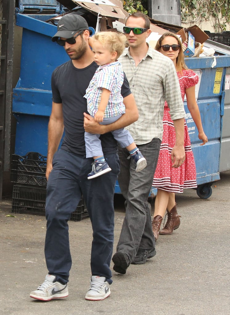 Natalie Portman and Benjamin Millepied headed to lunch with their son, Aleph, and a group of friends.