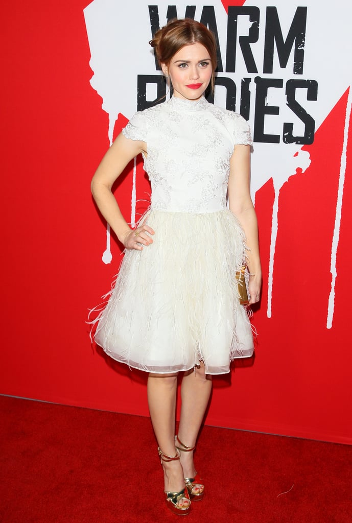 Holland Roden went for a white frock at the premiere.
