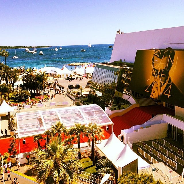 The view of the film festival's storied red carpet steps, taken from the balcony where we shot much of our content for POPSUGAR Now.