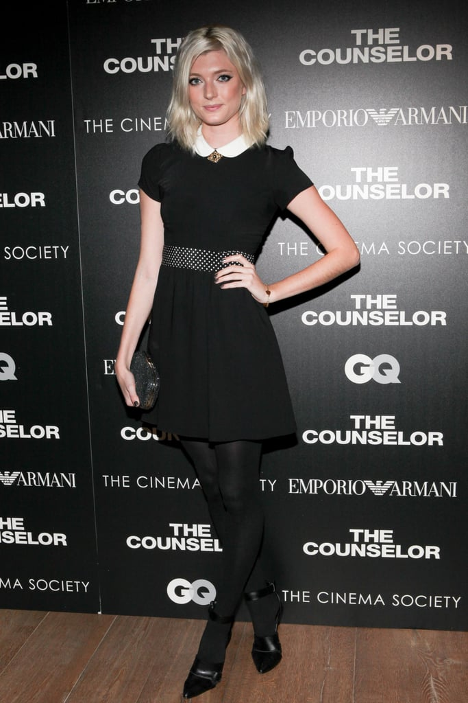 Sophie Sumner was demure in her collared dress at the GQ and Emporio Armani creening of The Counselor at the Crosby Street Hotel.