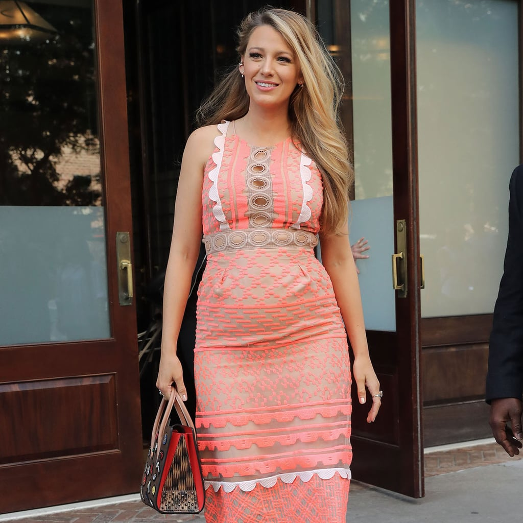 Blake Lively Pregnant Wearing a Pink Dress