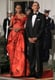 Michelle stunned in this red-and-black gown by Sarah Burton for Alexander McQueen.