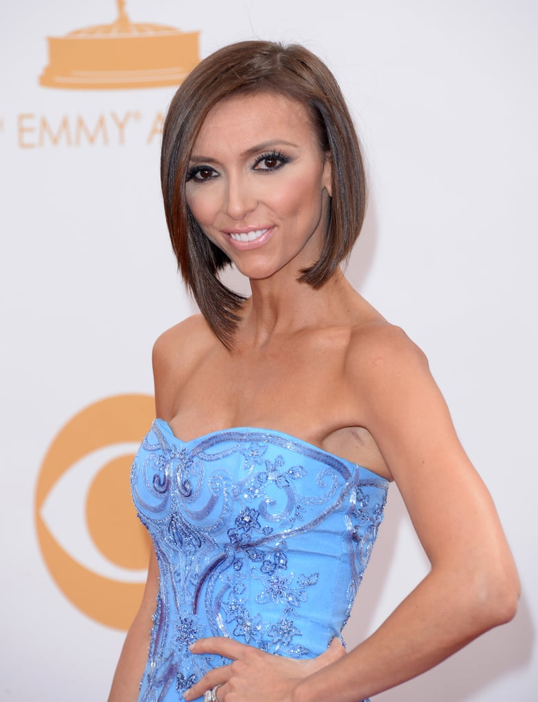 Giuliana Rancic's asymmetrical bob was at its finest on the Emmys red carpet, especially with her strapless neckline.