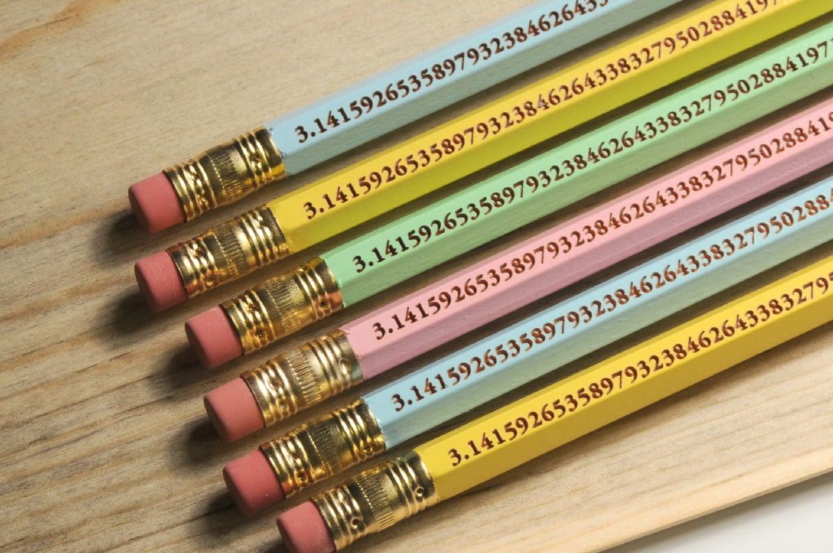 Pack of Six Pi Pencils