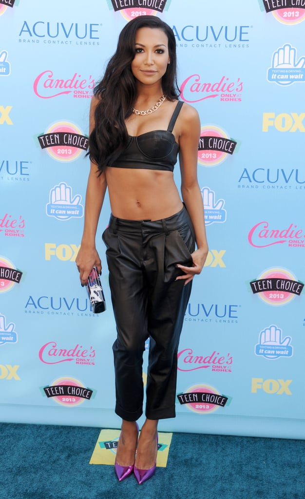 Naya Rivera dared to bare in Alice + Olivia by Stacey Bendet's leather combo, gold Le Vian necklace and purple heels.