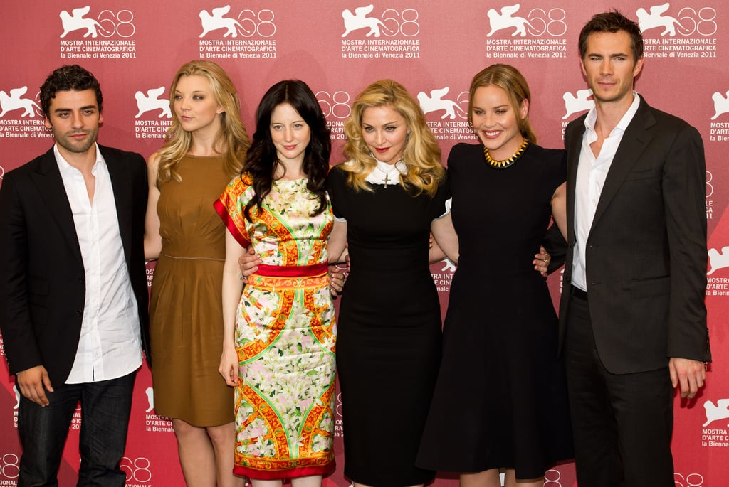 Madonna and the cast of W.E. get into line at the photo call.