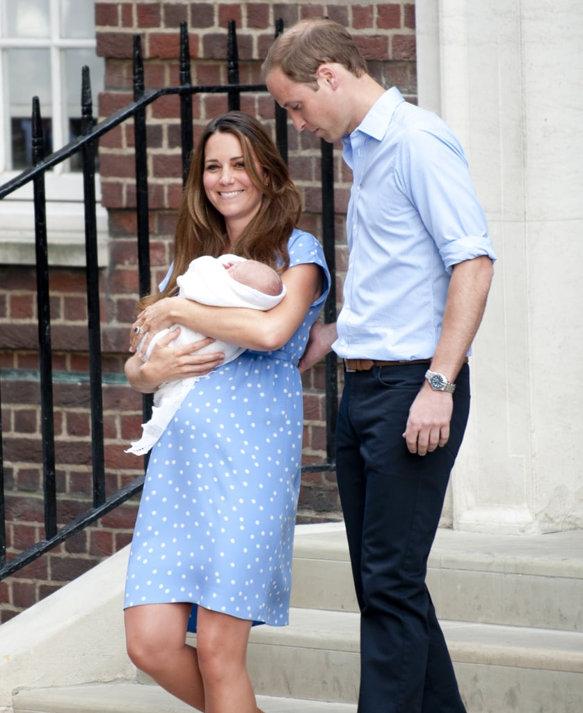 Catherine, Duchess of Cambridge, was smiling as she left the hospital with Prince William at her side and the royal baby in her arms.