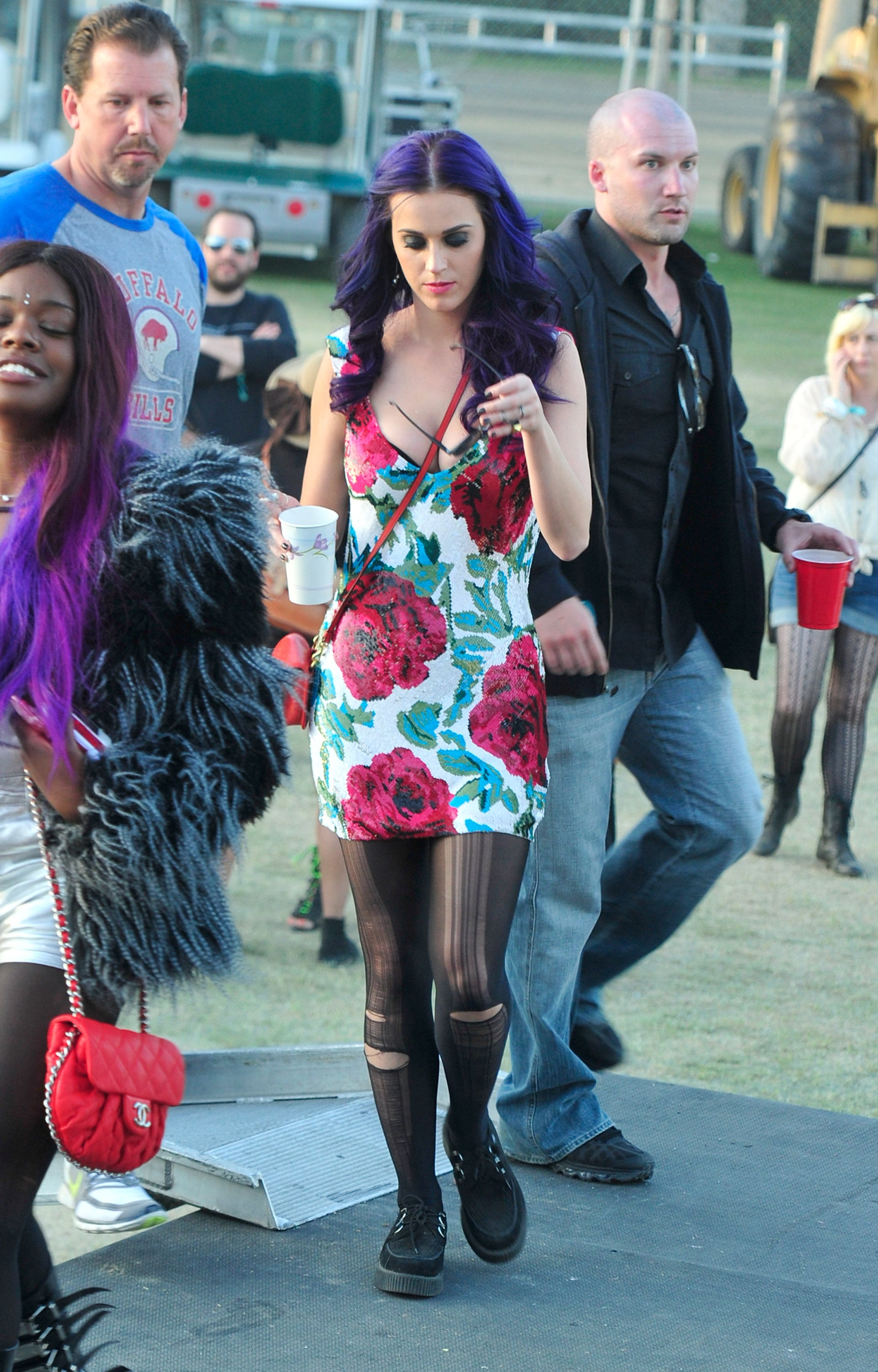 Katy Perry wore a floral dress at the festival in 2012.