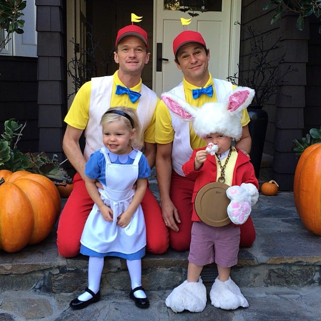 Neil Patrick Harris and his husband, David Burtka, dressed as characters from Alice and Wonderland with their twins, Harper and Gideon, for Halloween. Source: Instagram user instagranph