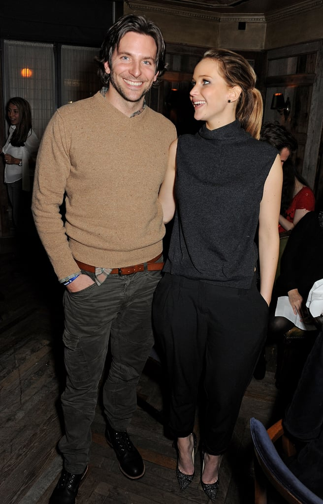 Jennifer Lawrence smiled at costar and friend Bradley Cooper at a pre-BAFTAs dinner in London in February.