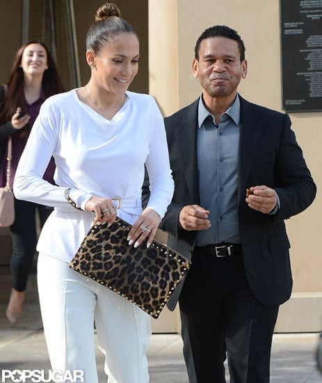 Jennifer Lopez wore white from head to toe for lunch with her manager, Benny Medina.