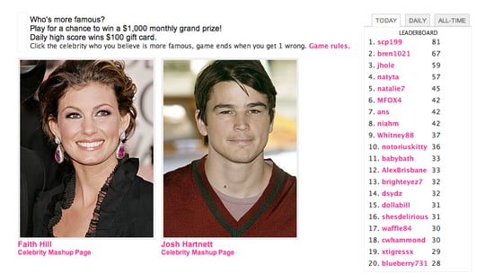 Play Celebrity Faceoff, Win $1000!