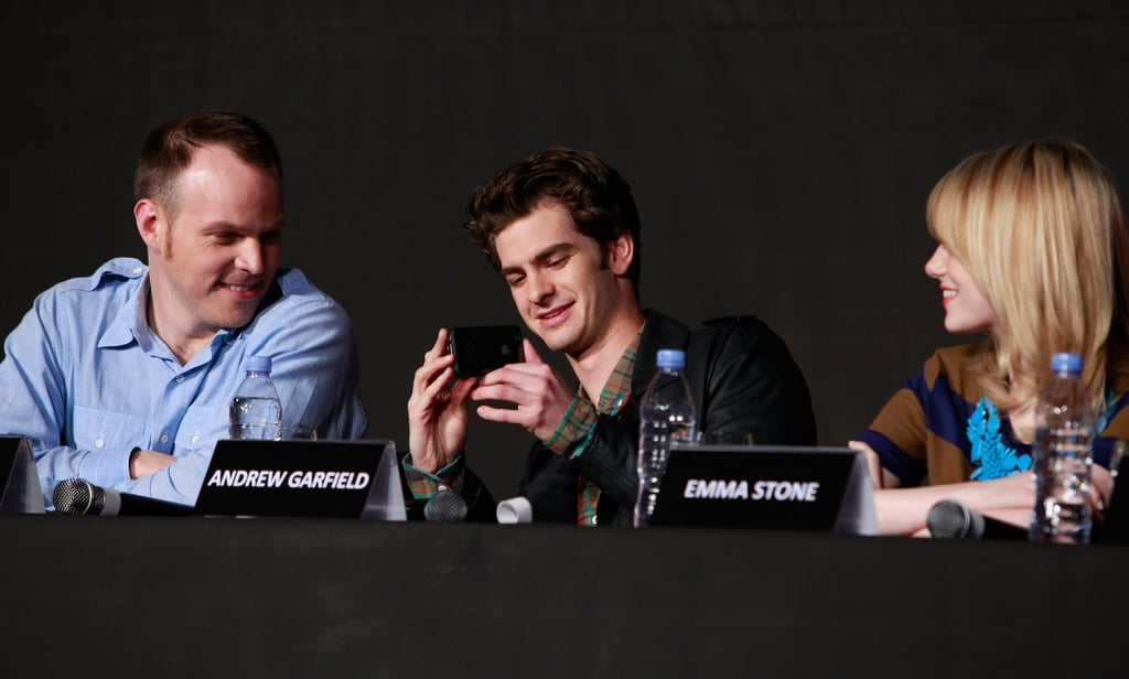 Marc Webb, Andrew Garfield, and Emma Stone chatted together at a press conference for The Amazing Spider-Man in Seoul.