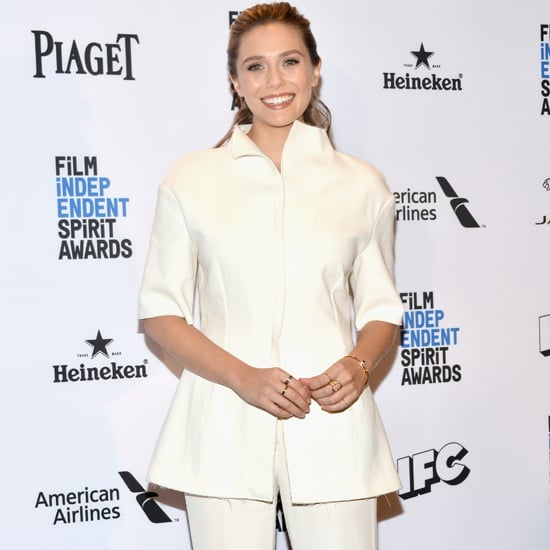 Elizabeth Olsen Wearing a White Suit