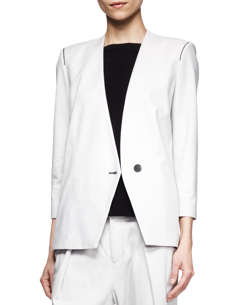 Helmut Lang Ark Peak-Front White Suiting Blazer ($595)