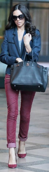 Terri Seymour Navy Blazer Berry Pants