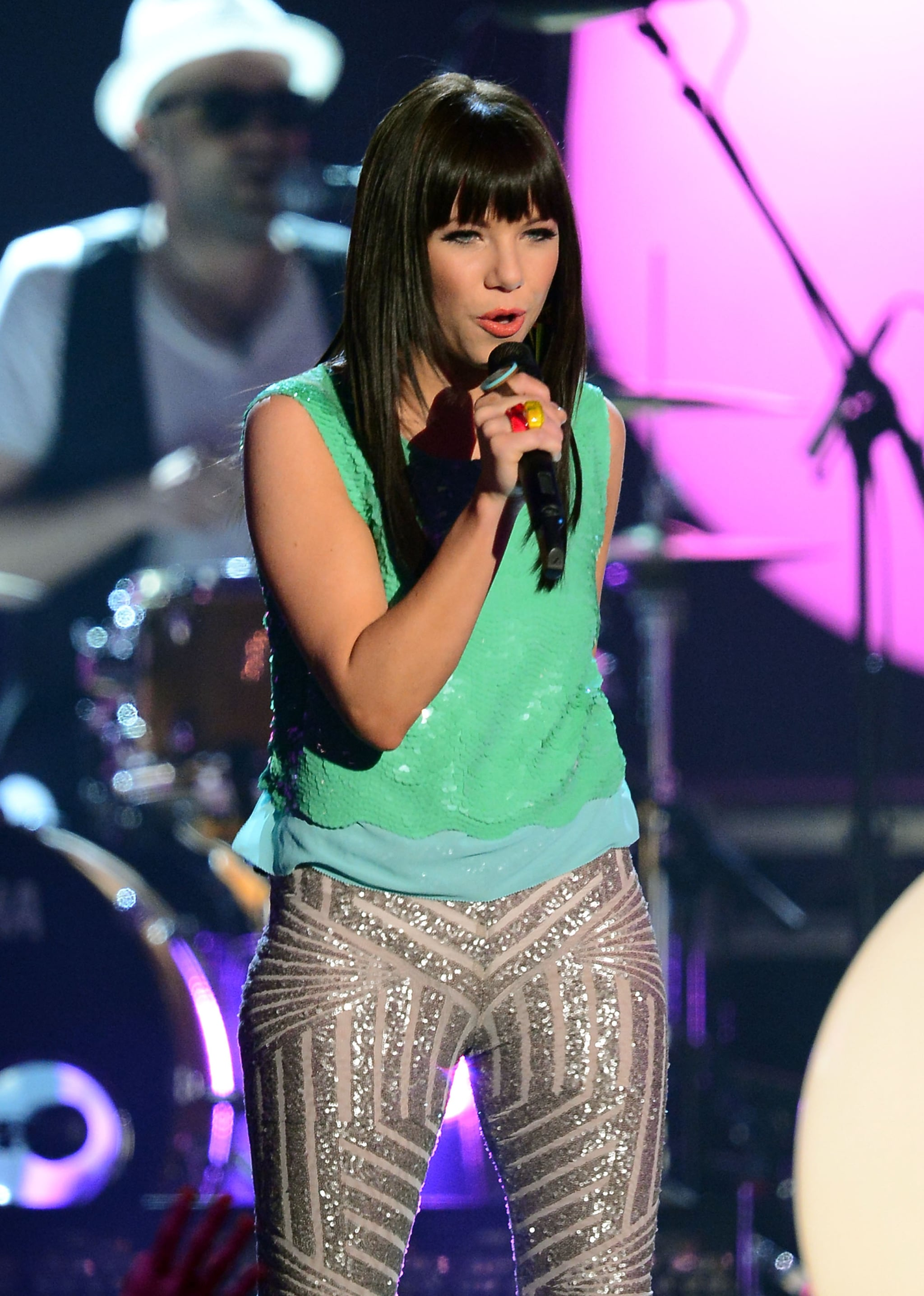 """Carly Rae Jepsen performed her hit song """"Call Me Maybe"""" at the May 2012 Billboard Music Awards."""