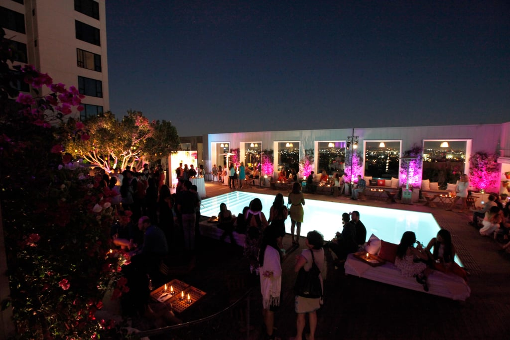SkyBar at The Mondrian was lit up last night for the POPSUGAR party.