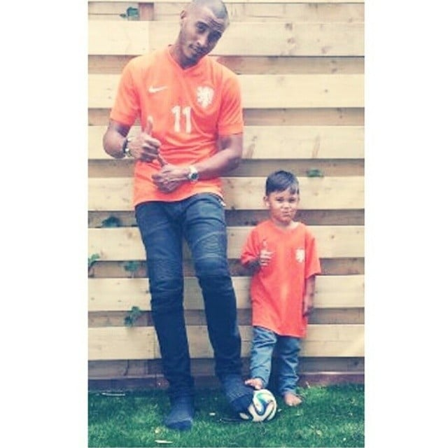 Sunnery and Phyllon James wore their Dutch pride in advance of the Netherlands' loss to Argentina at the World Cup. Source: Instagram user doutzen