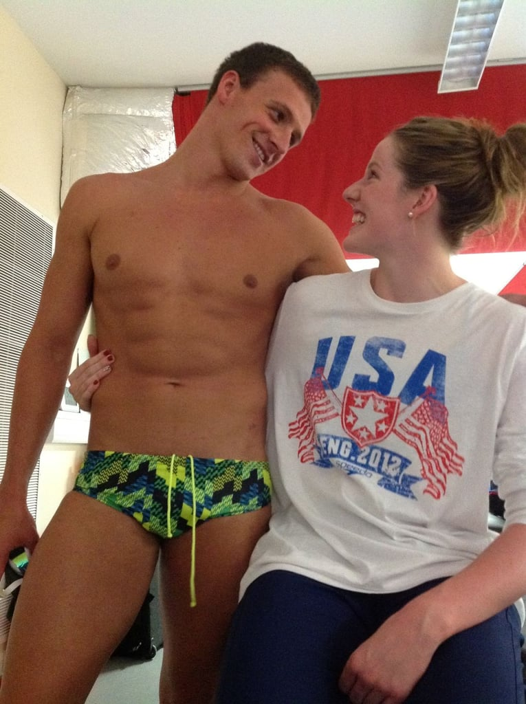Ryan Lochte and Missy Franklin got ready for a big night of competition. Source: Twitter user andykershaw03