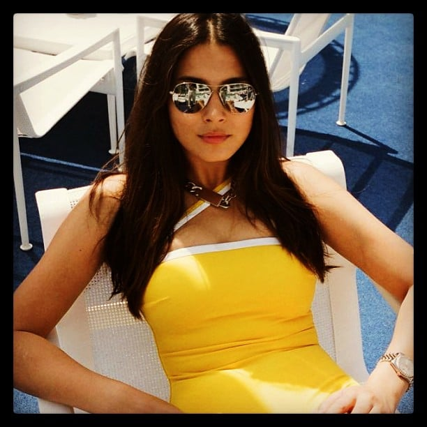 Jessica Gomes rocked a pair of metallic sunnies and a seriously sunny swimsuit. Source: Instagram user iamjessicagomes